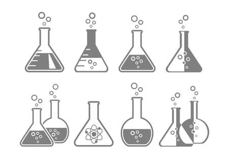 laboratory glass: Grey laboratory glass icons on white background