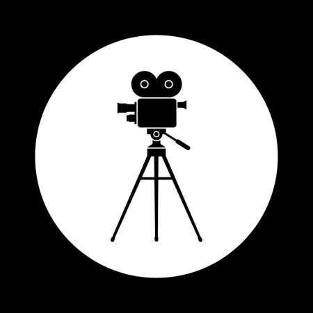 camara de cine: icono blanco y negro c�mara de cine