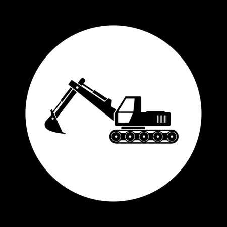 black and white: Black and white excavator icon