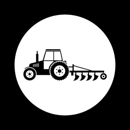 Czarno-biały ikona ciągnika