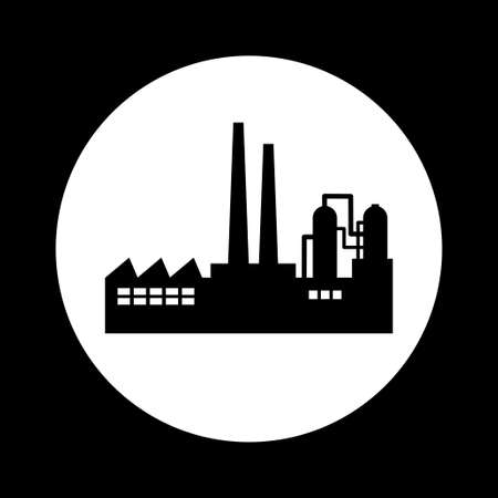 petrochemical plant: Black and white factory icon