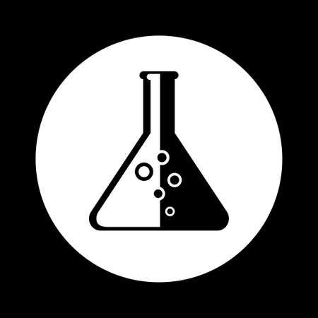 Black and white laboratory glass icon