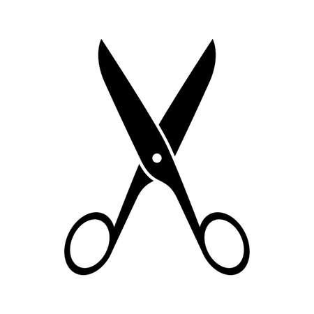 snip: Black scissors icon on white background