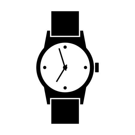 wristwatch: Black wristwatch icon on white background