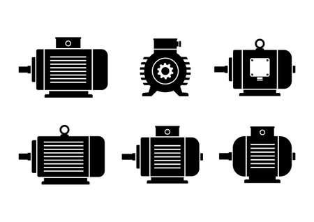 Noir icônes de moteurs électriques sur fond blanc