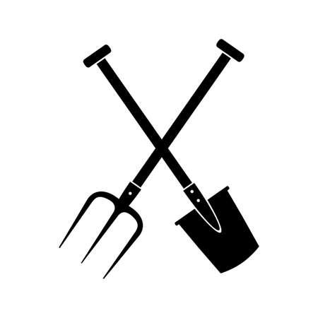 pitchfork: Black spade and pitchfork on white background
