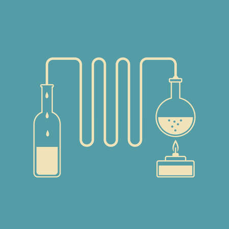 destilacion: kit de destilación Vectores