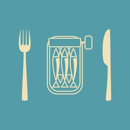 tinned: Sardines vector icon
