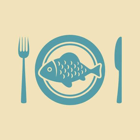 porcelain plate: Fish on porcelain plate