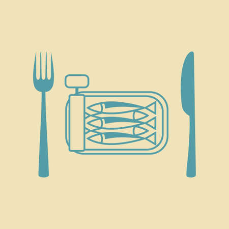 tinned: Sardines vector icon