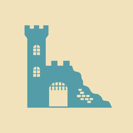 ruin: Castle ruin icon Illustration