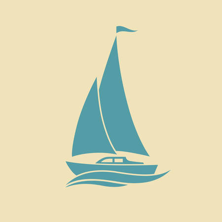 Sailboat vector icon Illustration
