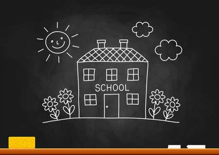 architectural studies: School drawing on blackboard Illustration