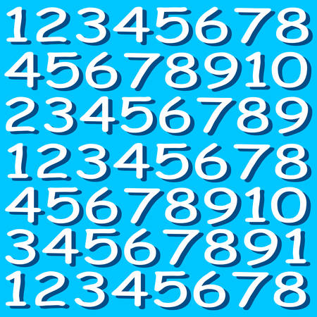 numbers background: White numbers on blue background