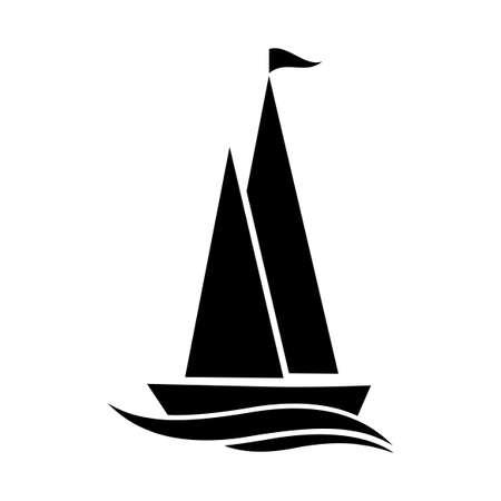 Black sailboat icon on white background
