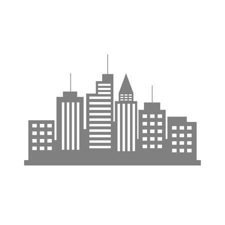 city background: Grey city icon on white background