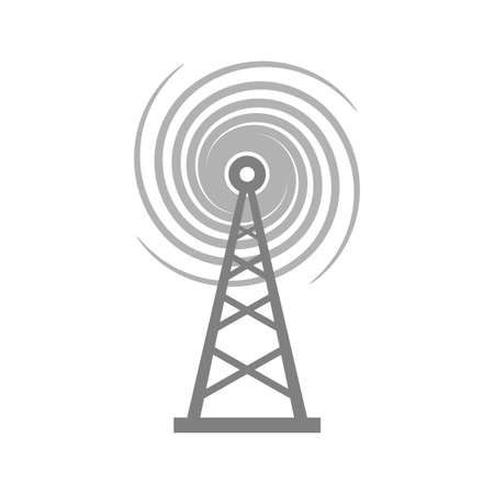 tv tower: Grey transmitter icon on white background Illustration