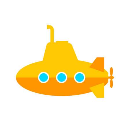 Yellow submarine vector icon on white background Vektorové ilustrace