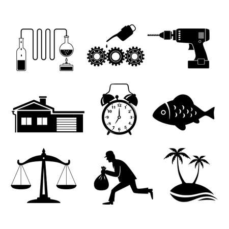 distill: Black icons set on white background