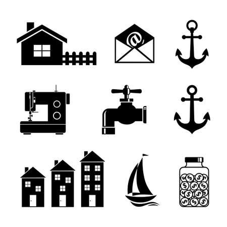 Black icons set. Ilustração