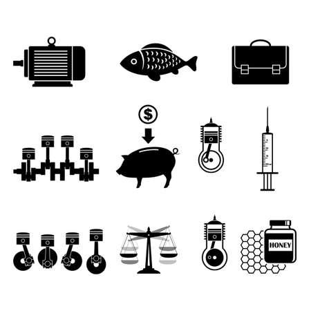 crankshaft: Black icons set on white background