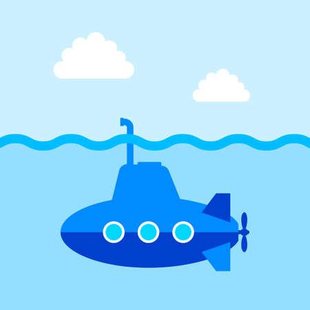 periscope: Blue submarine vector icon