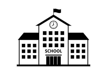 school vector icon isolated building on white background royalty rh 123rf com Black and White Vector School High School Vector Worksheet