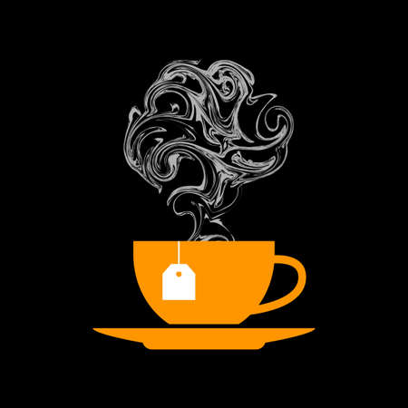 Tea cup icon on black background