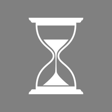White hourglass vector icon on grey background
