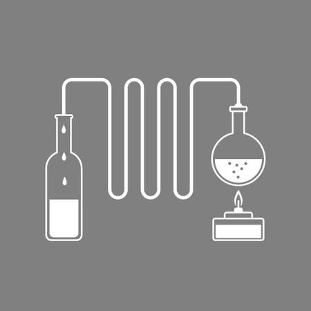 distillation: White distillation kit vector icon on grey background Illustration