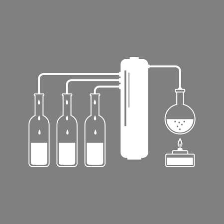 distillation: White distillation kit icon on grey.