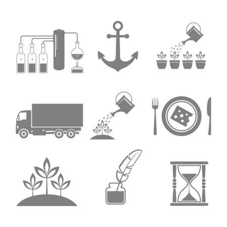 distill: Grey icons set.