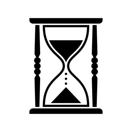 timepieces: Black hourglass vector icon, isolated object on white background