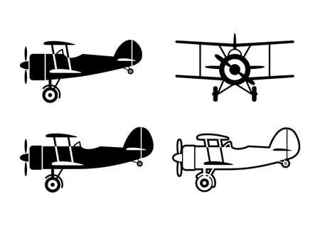 Black aircraft icons on white background Illustration
