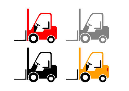 Forklift truck vector icons