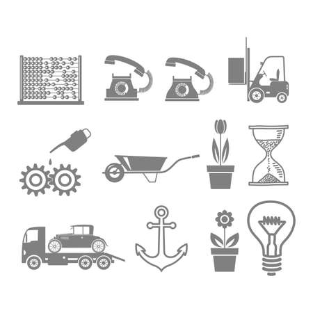 oilcan: Gray icons set on white background