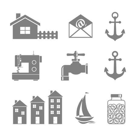 Gray icons set on white background