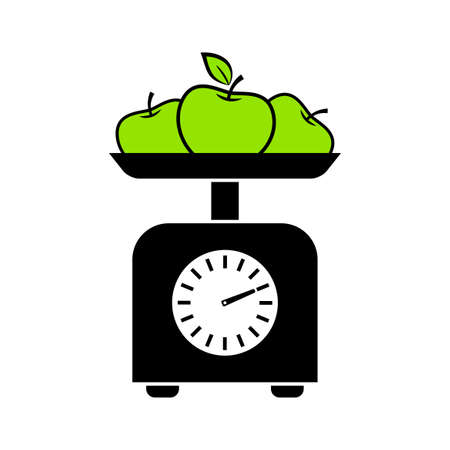 Kitchen scale vector icon on white background, green apple