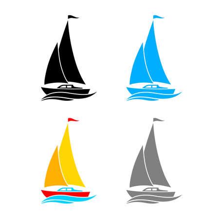 白い背景の上のヨットのベクトルのアイコン
