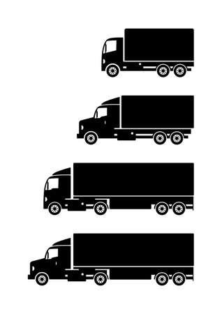Black truck vector icons on white background Illustration