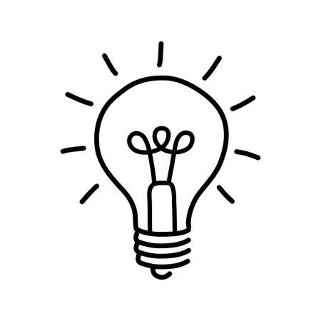Black lightbulb drawing on white background Ilustrace