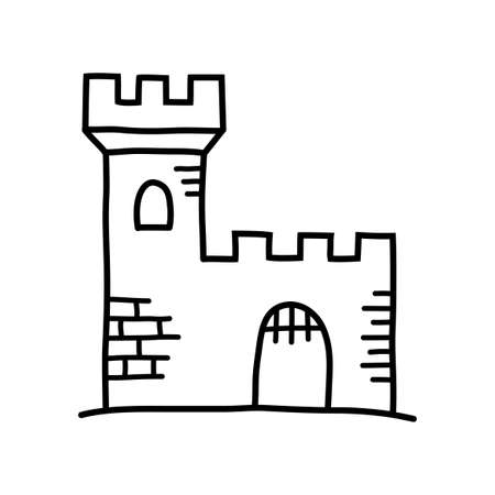 Castle drawing on white background Vector Illustration