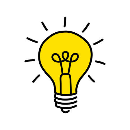 Żółta żarówka rysunek. Ilustracje wektorowe