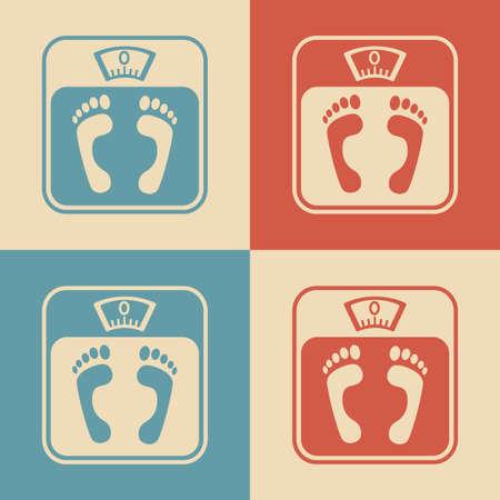 bathroom scale: Bathroom scale icons, retro colors