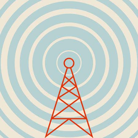 送信機のベクトルのアイコン、レトロな色