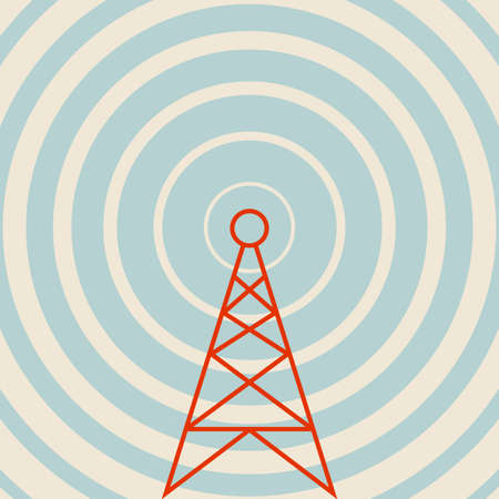 Transmitter vector icon, retro colors