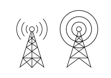 Zwarte zender vectorpictogrammen op witte achtergrond Stockfoto - 83624971