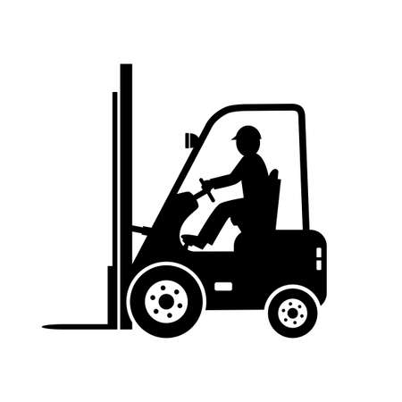 Icono de vector de carretilla elevadora negro sobre fondo blanco Ilustración de vector