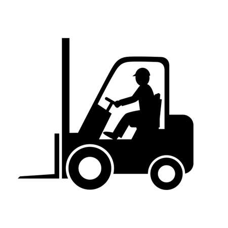 Black forklift truck vector icon on white background
