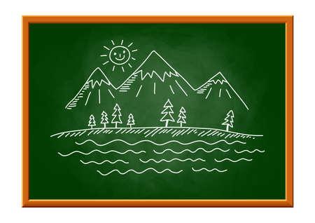 Drawing of landscape on blackboard